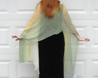 Rayon Shawl . Variegated Shawl . Yellow to Green . Talbot Shawl . ombre shawl