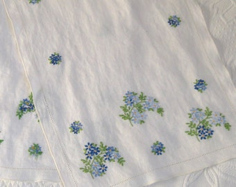 Embroidered Table Runner . blue floral table runner . embroidered linen table runner . forget-me-not  . forget me not table runner