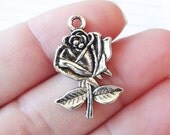 10 Rose, Flower Charms 25x17mm