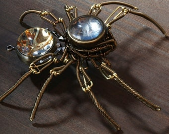 Steampunk Sculpture - One of a kind - Brass and bronze wire with working mechanical clock