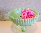 Jadeite ANTIQUE NORTHWOOD Green Glass Vaseline Opalescent Ruffled Crimped Rose Bowl Dish Jadite