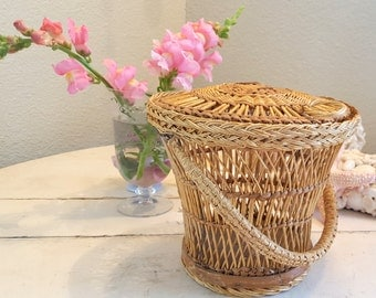 """Antique French Lunch or Sewing or Tea Basket 12"""" by 6"""" with Handle and Lid Lidded"""