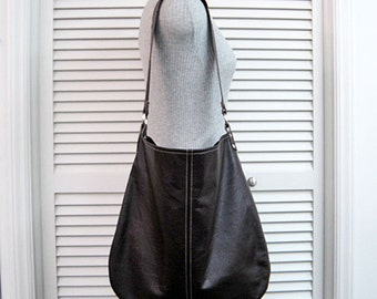 SHOP CLOSING Sale-Genuine Leather Dark Brown-REPURPOSED-Hobo/Slouch/Shoulder/Tote Bag-Room for iPad/Laptop/Tablet-Handmade-Original Pattern