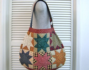 SHOP CLOSING Sale-Repurposed Quilt-Hobo/Slouch/Shoulder/Tote Bag-Holds All Your Stuff-Room for iPad/Laptop/Tablet-Handmade-Original Pattern