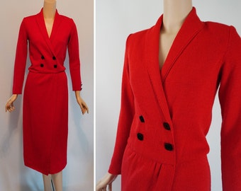Vintage 1980s Dress Bright Red Santana Knit with Faux Wrap Skirt Sz 6 B36