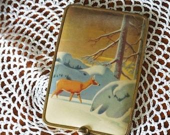 SALE Vintage Hand Mirror Encased Vinyl Winter Scene