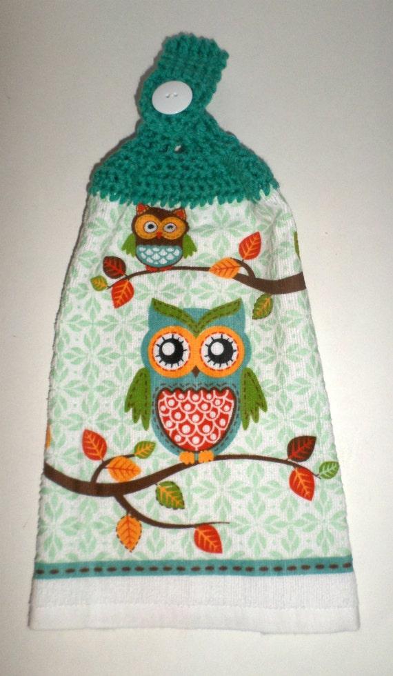 hanging owl towel crochet top towel owl kitchen towel