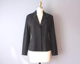 vintage 90s blazer / embroidered black jacket / floral embroidered lapel / sz 6