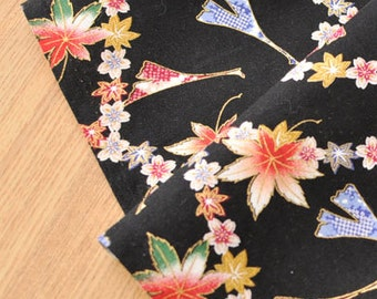 4187 - Japanese Kimono Leaf Floral Cotton Fabric - 43 Inch (Width) x 1/2 Yard (Length)