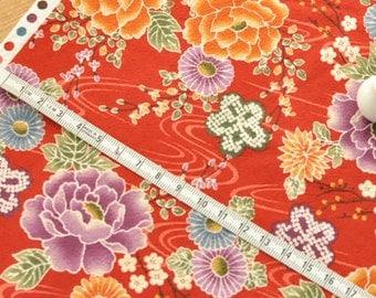 4257 - Japanese Kimono Chrysanthemum Floral Cotton Fabric - 43 Inch (Width) x 1/2 Yard (Length)