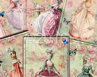Instant Download  - Marie Antoinette 4 - ACEO - Digital Download - Printable  Digital Collage Sheet