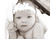 SALE Baby Small White Flower Headband.....  White Christening Headband.....Baby Girl Headband......Infant White Headband