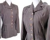Vintage 40s Jacket Ladies Art Deco Wool Peplum Gray & Red Stripe Swansdown M