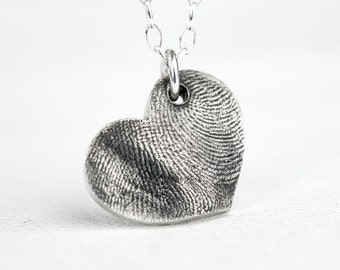 Fingerprint Heart Necklace Double Print Custom Personalized Heart