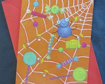 Cute Vintage HALLOWEEN Greeting Card RENAISSANCE Children Kids Spider Web Candy Sweets Treats
