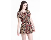 MINI dress vintage 90s Carole Little belted tunic PRINT boho summer Small / Xs better Stay together