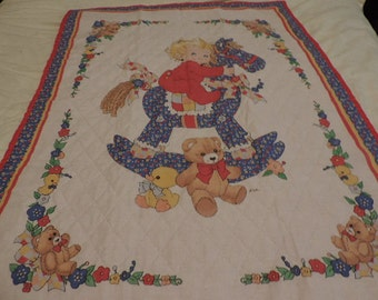 Baby on Rocking Horse Baby Quilt