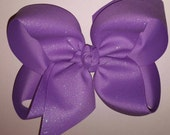 X-Large King Size Bright Purple Shimmer Grosgrain Hair Bow