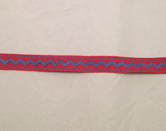 Vintage Cotton Jacquard Ribbon - Red & Blue Chevron Zig Zag -2 yards-