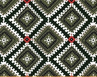 Windham Wild Field Diamonds Green Red - Cotton Quilting Fabric - 1 Yard