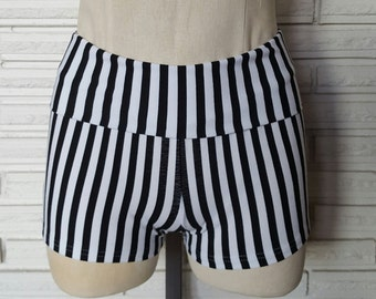 Vertical Stripe Shorts, Dance Shorts, Cotton Booty Shorts, Made to Order, XXS - L