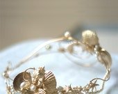 WEDDING HEADBAND  Bridal seashell crown  SIREN , gold, hair vine, pearl, seashells, stars