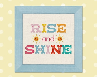 Rise and Shine. Happy Sun and Colorful Whimsical Text Cross Stitch PDF Pattern Instant Download
