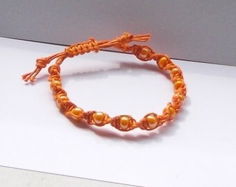 Armband Mikrama Makramee orange