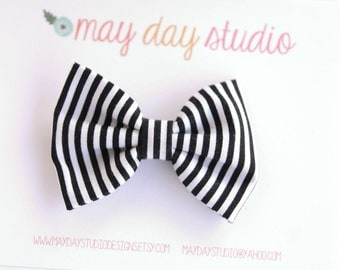 girls/toddler fabric boutique bow hair clip, black and white stripe alligator clip hair bow