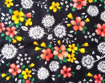"vintage fabric - DANDELION FLORAL - cotton crepe ""Marvella"" - almost 1 yard - 36x35 inches"