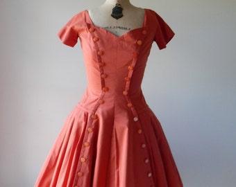 Sale Pumpkin Spice dress   vintage 1950s dress   cotton orange 50s dress
