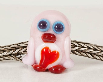 Pink Red Penguin Lampwork Big Hole Bead
