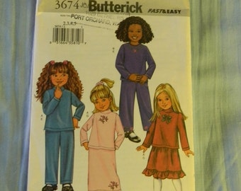 Butterick Children's Top, Skirt and Pants Pattern # 3674 Uncut