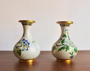 Pair of vintage floral cloisonne bud vases