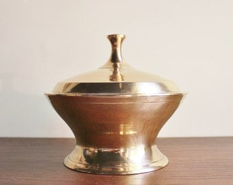 Polished brass box with lid