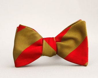 red & antique brass striped bow tie // self tie bow tie // totally rad