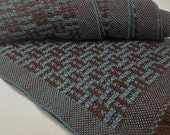 Handwoven Scarf, Chocolate and Turquoise, Merino Wool and Tencel by Frederick Avenue