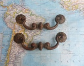 SALE! 2 wide heavy brass and metal bail pull handles with rosettes