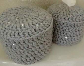 Toilet Paper Cover Crochet with Sequin Accents Set of 2,,  Light Grey Yarn