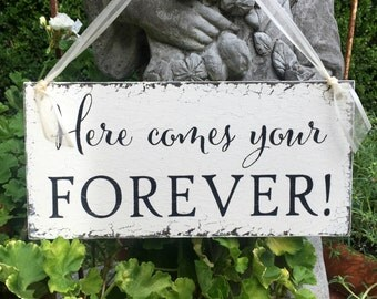 WEDDING SIGNS, Here comes your FOREVER, Wood Wedding Signs, Ring Bearer Signs, Flower Girl Signs, Mr. and Mrs Signs, 5.5 x 11.5