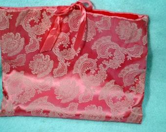 Vintage SCHIAPARELLI Pink & White Satin Lingerie Hosiery Hanky Scarf Stocking Bag
