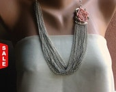 50% ONLY 24 Hrs! All Items! Handmade Resin Rose necklace, chunky chain necklace ,silver chain necklace ,chain choker necklace ,chain layered