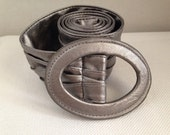 Vintage Beautiful Wide Silver Leather Like Cinch Belt, Fits Up to a 32 inch Waist