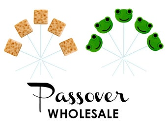 WHOLESALE Passover Matzoh and Frog Marzipan Candy Lollipops - the perfect Passover treat!