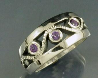 3 Bezel Set Round Amethyst Stones in Sterling Silver Ring