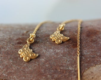 Gold Thread Earrings - butterfly earring -  Ear Threader Earrings -  Long Gold Dangle Earring  - Butterfly Charm Earrings