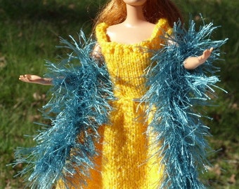 Barbie Knitted Faux Fur Boa /Scarf - Black with shades of Blue and White Fur - Added White CrochedThread Wraped in a Thin Gold Thread