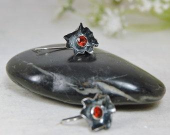 Red Garnet Abstract Flower Earrings Sterling Silver Gemstone Earrings