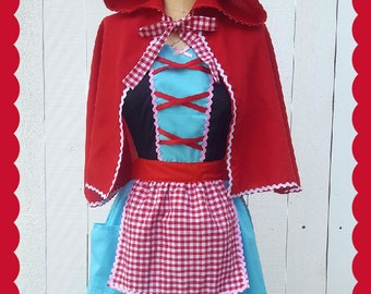 Little Red Riding hood costume, fairy tale apron, retro apron, dress up costume aprons, womens costume, Halloween costume, red cape