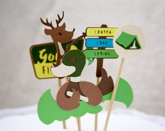Camping Theme Cake Toppers